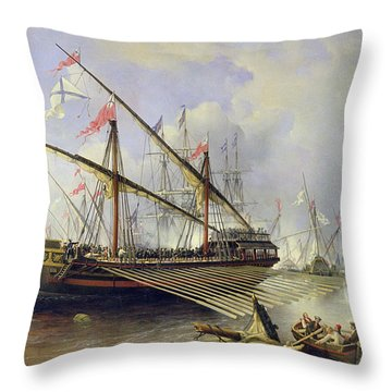 The Battle Of Grengham On 27th July 1720 Throw Pillow by Ferdinand Victor Perrot