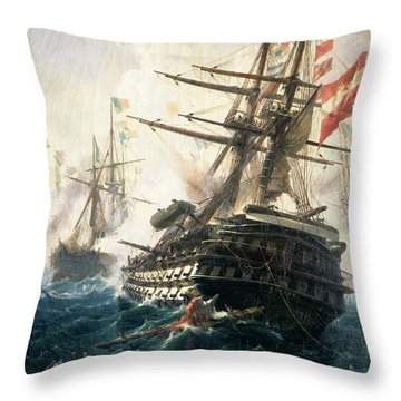The Battle Of Lissa Throw Pillow by Constantin Volonakis