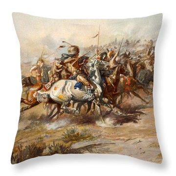 The Battle Of Little Bighorn Throw Pillow
