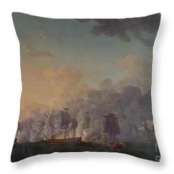 The Battle Of Louisbourg On The 21st July 1781 Throw Pillow by Auguste Rossel De Cercy