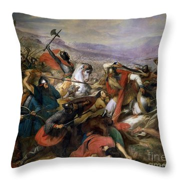 The Battle Of Poitiers Throw Pillow by Charles Auguste Steuben