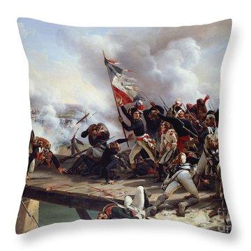 The Battle Of Pont D'arcole Throw Pillow by Emile Jean Horace Vernet