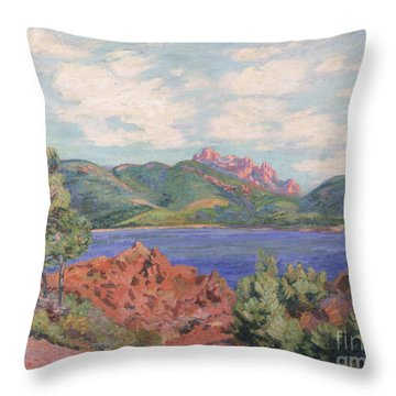 The Bay Of Agay Throw Pillow by Jean Baptiste Armand Guillaumin