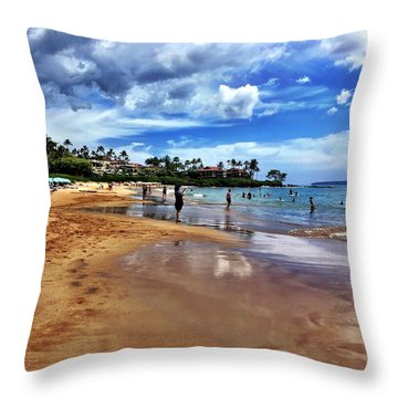 The Beach 2 Throw Pillow by Michael Albright