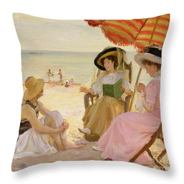The Beach Throw Pillow by Alfred Victor Fournier