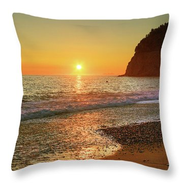 the beach and the Mediterranean sea in Montenegro in the summer at sunset Throw Pillow