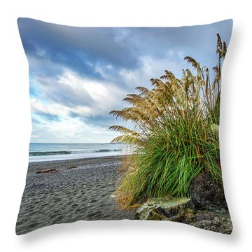The Beach At Brookings Throw Pillow