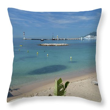 Throw Pillow featuring the photograph The Beach At Cannes by Allen Sheffield