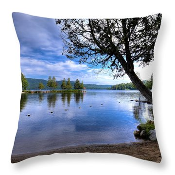 Throw Pillow featuring the photograph The Beach At Covewood Lodge by David Patterson