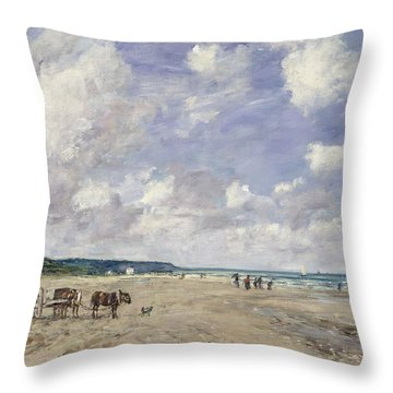 The Beach At Tourgeville Throw Pillow by Eugene Louis Boudin