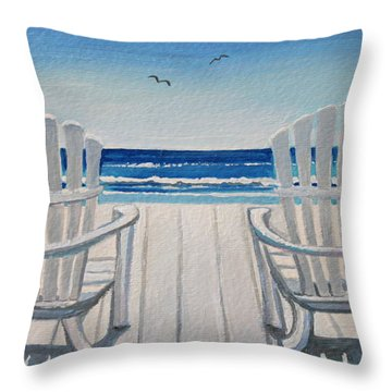 The Beach Chairs Throw Pillow