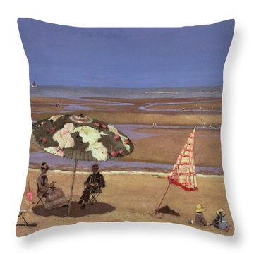 The Beach Throw Pillow by Etienne Moreau Nelaton