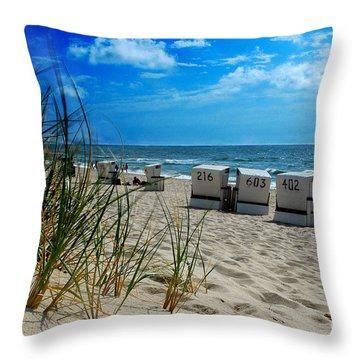 The Beach Throw Pillow by Hannes Cmarits