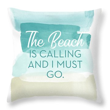 The Beach Is Calling- Art By Linda Woods Throw Pillow