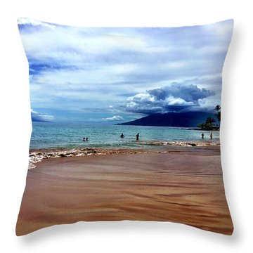 The Beach Throw Pillow by Michael Albright