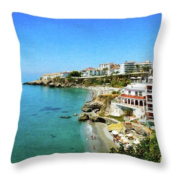 Throw Pillow featuring the photograph The Beach - Nerja Spain by Mary Machare
