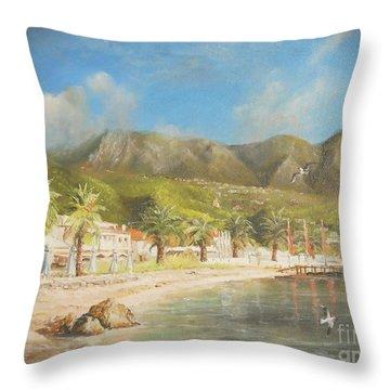 The Beach Of Ipsos Throw Pillow