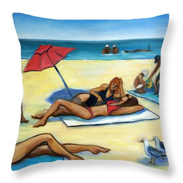 The Beach Throw Pillow by Valerie Vescovi