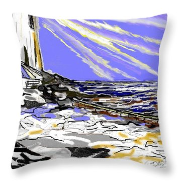 Throw Pillow featuring the drawing The Beacon by Desline Vitto