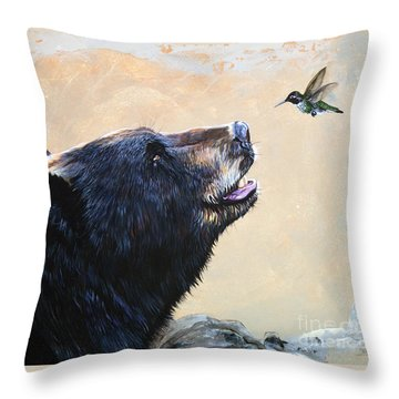 The Bear And The Hummingbird Throw Pillow