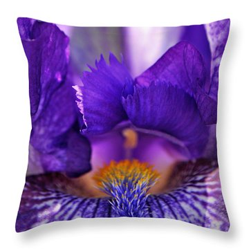 Throw Pillow featuring the photograph The Beard In The Iris by Mindy Bench