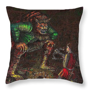 The Beast And Prince Meet Throw Pillow