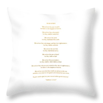 Throw Pillow featuring the digital art The Beatitudes Gospel Of Matthew by Rose Santuci-Sofranko