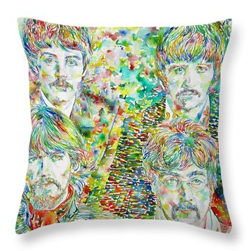 The Beatles - Watercolor Portrait.1 Throw Pillow by Fabrizio Cassetta