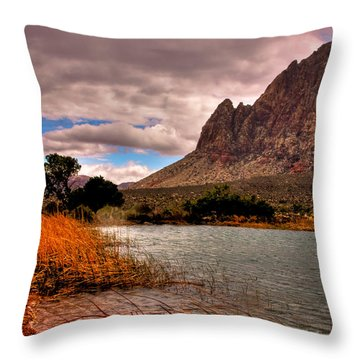 The Beautiful Red Rock Canyon In Nevada Throw Pillow
