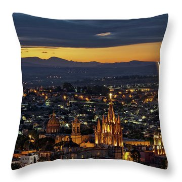 The Beautiful Spanish Colonial City Of San Miguel De Allende, Mexico Throw Pillow by Sam Antonio Photography