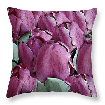 The Beauty And Depth Of A Bed Of Tulips Throw Pillow
