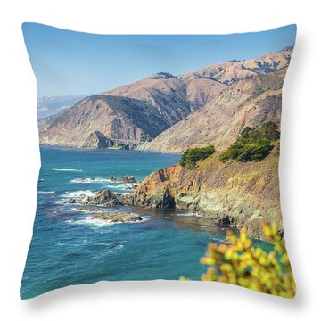 The Beauty Of Big Sur Throw Pillow by JR Photography