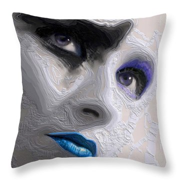 The Beauty Regime Blue Throw Pillow by ISAW Gallery