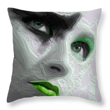 The Beauty Regime Green Throw Pillow by ISAW Gallery
