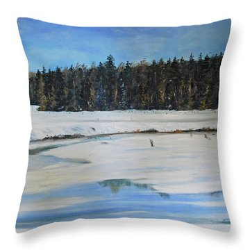 The Beaver Pond In Winter Throw Pillow