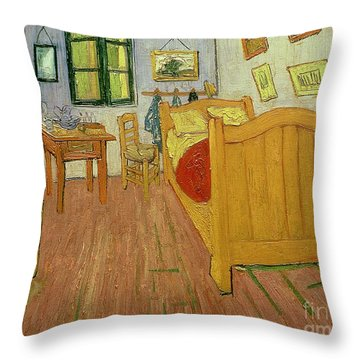 The Bedroom Throw Pillow by Vincent van Gogh