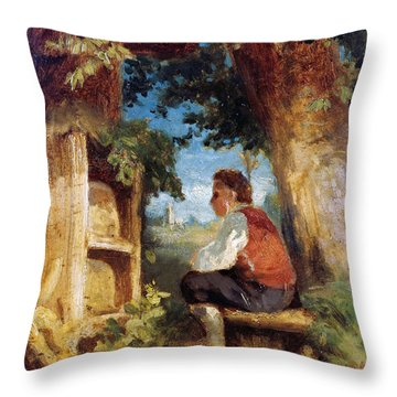 Throw Pillow featuring the painting The Bee Friend by Hans Thoma