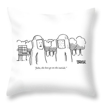 The Bees Go On The Outside Throw Pillow