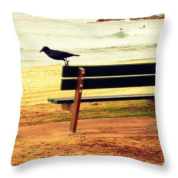 The Bench And The Blackbird Throw Pillow