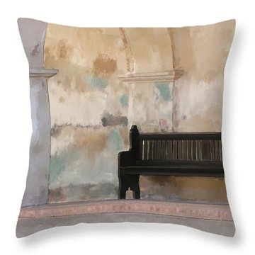 The Bench Throw Pillow by Michael Greenaway