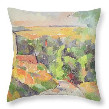 The Bend In The Road Throw Pillow by Paul Cezanne