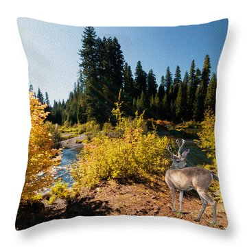 The Bend Of The Rogue River Throw Pillow by Diane Schuster