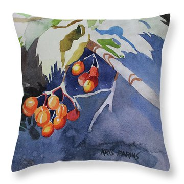 Throw Pillow featuring the painting The Berries by Kris Parins