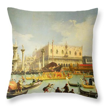 The Betrothal Of The Venetian Doge To The Adriatic Sea Throw Pillow by Canaletto