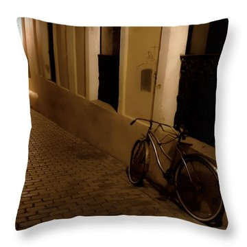 Throw Pillow featuring the photograph The Bicycle And The Brick Road by DigiArt Diaries by Vicky B Fuller