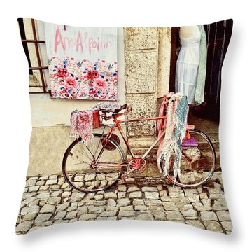 The Bicycle As Display  Throw Pillow