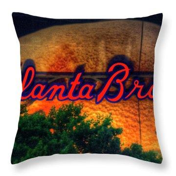 The Big Ball Atlanta Braves Baseball Signage Art Throw Pillow