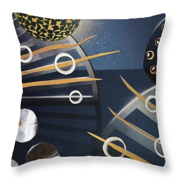 Throw Pillow featuring the painting The Big Bang by Michal Mitak Mahgerefteh