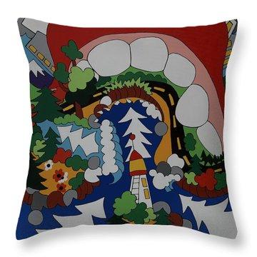 The Big Bite Throw Pillow by Rojax Art