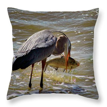 Throw Pillow featuring the photograph The Big Catch by Ola Allen